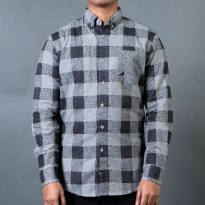 Staple Men Check Fishtail Flannel Shirt (gray)