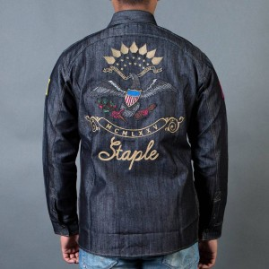 Staple Men Patch Denim Overshirt (black)
