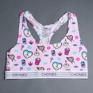 Chonies Women Vice Sports Bra Tee (white / pink)
