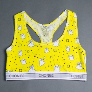 Chonies Women Ghosties Sports Bra Tee (yellow)