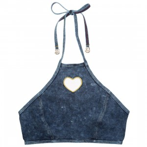Lazy Oaf Women Jean Bikini Top (blue / denim)