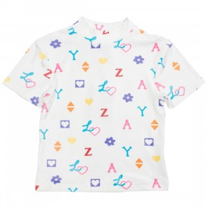 Lazy Oaf Women House Of Logo Velour Tee (white)