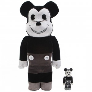 Medicom Disney Mickey Mouse Vintage B&W Ver. 100% 400% Bearbrick Figure Set (black / white)
