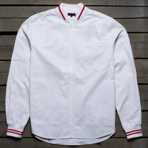CLOT Men Ribbed Zip Up Shirt (white)
