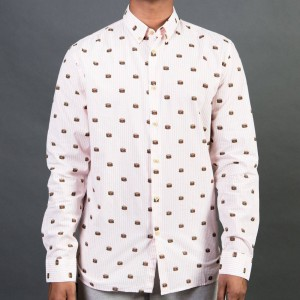 Barney Cools Men Button Up Burger Shirt (pink / burger)