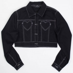 Lazy Oaf Women Contrast Stitch Jacket (black)