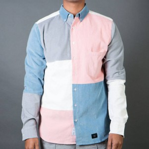 Lazy Oaf Men Patchwork Cord Shirt (pink / blue)