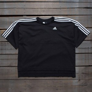 Adidas Women Oversize 3-Stripes Tee (black / white)