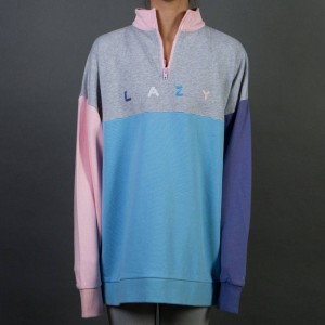 Lazy Oaf Women Panel Zippy Sweater (gray / pink)