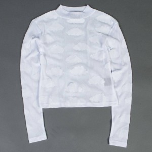 Lazy Oaf Women Sheer Cloud Polo Long Sleeve Tee (white)