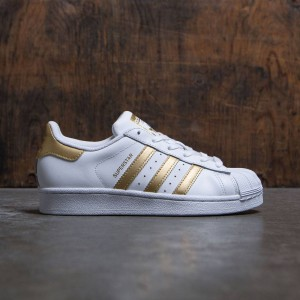 Adidas Big Kids Superstar (white / metallic gold / blue)