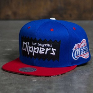 BAIT x NBA x Mitchell And Ness Los Angeles Clippers STA3 Wool Snapback Cap (royal / red)