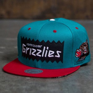 BAIT x NBA x Mitchell And Ness Vancouver Grizzlies STA3 Wool Snapback Cap (teal / red)