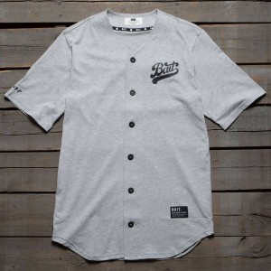 BAIT Men Script Logo Baseball Jersey Shirt (gray)