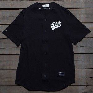 BAIT Men Script Logo Baseball Jersey Shirt (black)