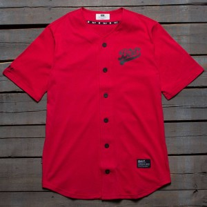 BAIT Men Script Logo Baseball Jersey Shirt (red)