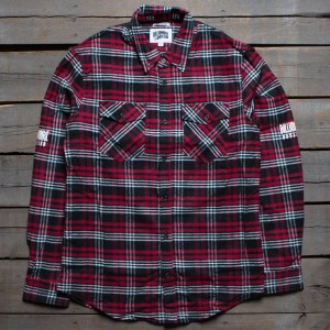 Billionaire Boys Club Men BB Clipper LS Woven Shirt (black / red)
