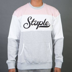 Staple Men Blocked Heather Crew Sweater (pink)