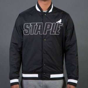 Staple Men Nylon Baseball Jacket (black)