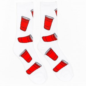 40s And Shorties Red Cups Socks (white)