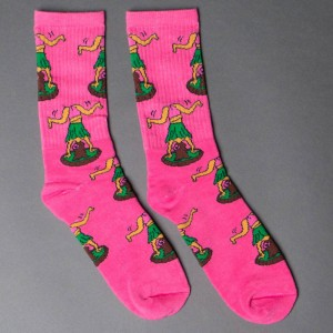 40s and Shorties Men Hula Girl Twerk Socks (pink)