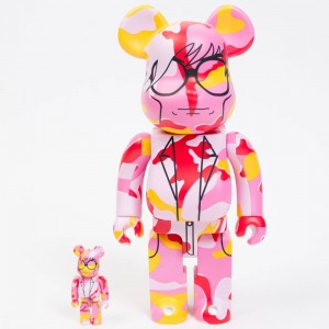 Medicom Andy Warhol Pink Camo Version 100% 400% Bearbrick Figure Set (pink)