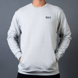 BAIT Men French Terry Crewneck Sweater - Made In LA (gray / heather)