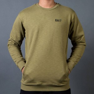 BAIT Men French Terry Crewneck Sweater - Made In LA (olive)