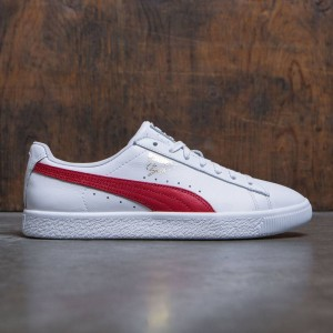 Puma Men Clyde Core - Leather Foil (white / red)