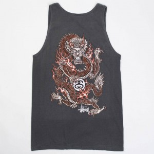 Stussy Men Fire Dragon Pigment Dyed Tank Top (black)