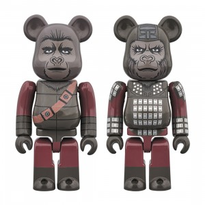 Medicom Planet of the Apes General Ursus And Soldier Ape 100% 2 Pack Bearbrick Figure Set (gray)