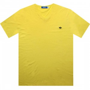 Adidas Solid V-Neck Tee (prime yellow / new navy)