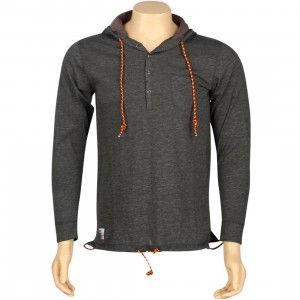 ARSNL Frost Henley Hooded Long Sleeve Tee (charcoal heather)