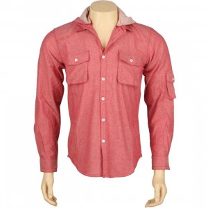 ARSNL Shifter Hooded Woven Long Sleeve Shirt With Detachable Hood (red chambray)