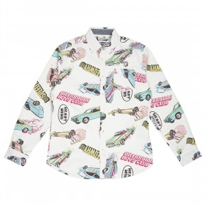 Billionaire Boys Club Men Burnout Woven Long Sleeve Shirt (white)