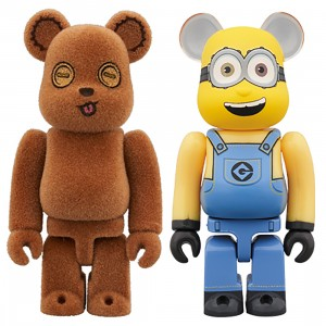 PREORDER - Medicom Minions Tim And Bob 100% 2 Pack Bearbrick Figure Set (brown / yellow)