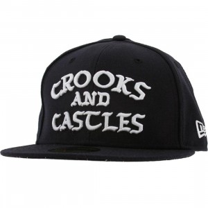 Crooks and Castles Logo New Era Fitted Cap (navy)