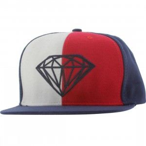 Diamond Supply Co Brilliant Leather Back Buckle Adjustable Cap (red / white / blue)