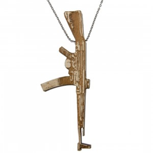Good Wood NYC Chained Necklace - Machine Gun (natural wood)
