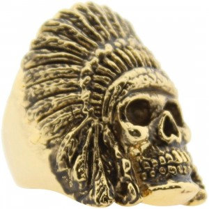 Han Cholo Indian Chief Skull Ring - Shadow Series (gold)
