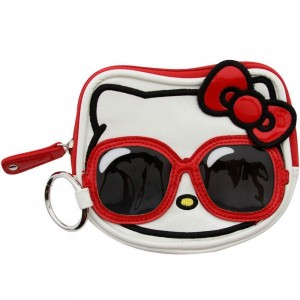 Hello Kitty Sunglasses Face Coin Bag (white / red / black)
