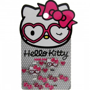 Hello Kitty Heart Glasses Hairpins (white / pink)