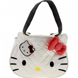 Hello Kitty Face Quilted Bag (white / red / black)