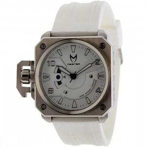 Meister Chief Rubber Strap Watch (silver / white)