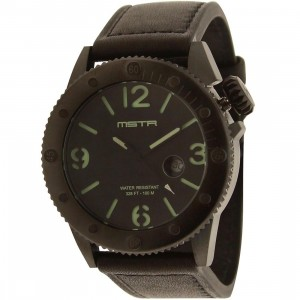 Meister Marine Leather Band Watch (black)