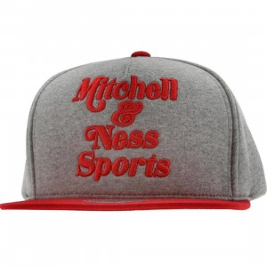 Mitchell And Ness Branded Heather Fleece Snapback Cap (grey / red)