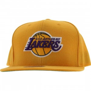 Mitchell And Ness Los Angeles Lakers NBA Wool Solid Snapback Cap (yellow)