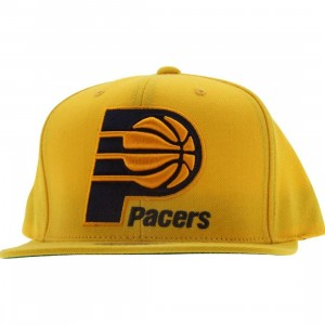 Mitchell And Ness Indiana Pacers NBA Wool Solid Snapback Cap (yellow)