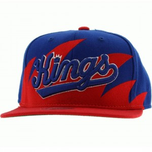 Mitchell And Ness Sacramento Kings Sharktooth Wool Snapback Cap (blue / red)