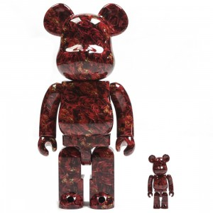 Medicom Mika Ninagawa Leather Rose 100% 400% Bearbrick Figure Set (red)